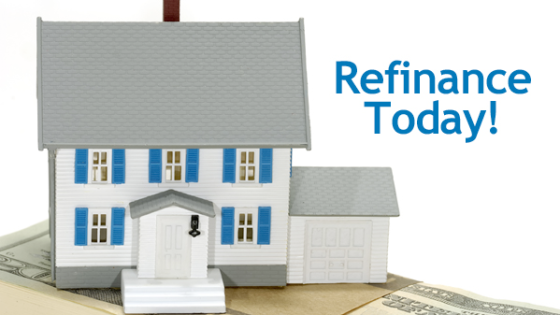 image of house with text refinance today